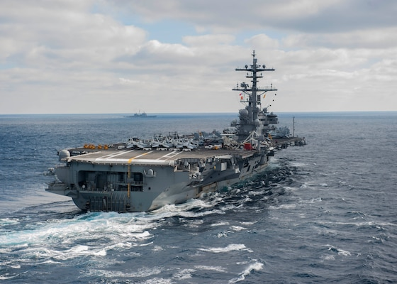 The aircraft carrier USS George H.W. Bush (CVN 77) sails through the Atlantic Ocean. Bush is underway conducting a Composite Training Unit Exercise (COMPTUEX) with the George H.W. Bush Carrier Strike Group in preparation for an upcoming deployment. (U.S. Navy photo by Petty Officer 3rd Class Michael B. Zingaro/Released)