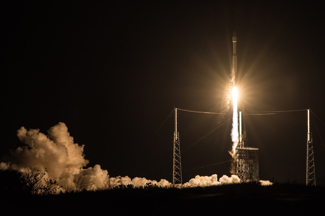 The U.S. Air Force's 45th Space Wing supported United Launch Alliance's successful launch of the third Space Based Infrared Systems Geosynchronous Earth Orbit spacecraft aboard an Atlas V rocket from Launch Complex 41 here Jan. 20 at 7:42 p.m. ET. The launch is the first major launch operation of 2017 on the Eastern Range and kicks off what is predicted to be a busy year on the Eastern Range. (Courtesy photo by United Launch Alliance)
