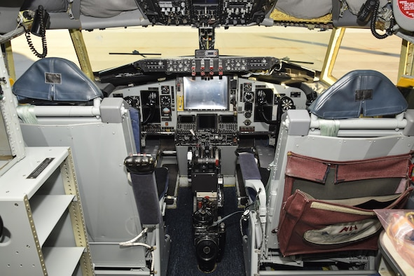 Flight deck of a KC-135R Stratotanker after completing the Block 45 avionics upgrade Nov. 15, 2016, Tinker Air Force Base, Oklahoma. Block 45 completely remodels the inside of the flight deck with new liquid crystal displays, radio altimeter, auto-pilot, digital flight director and other computer module updates. (U.S. Air Force photo/Greg L. Davis)