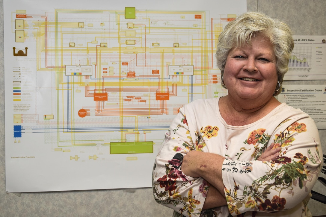 Belinda Schantz, 564th Aircraft Maintenance Squadron Block 45 unit chief, stands in front of the wiring schematic for the KC-135 Stratotanker avionics upgrade Nov. 27, 2016, Tinker Air Force Base, Oklahoma. Schantz has empowered her technicians to innovate for time and cost savings which has dramatically lowered the workflow days and sped delivery of the aircraft back to the warfighter. (U.S. Air Force photo/Greg L. Davis)