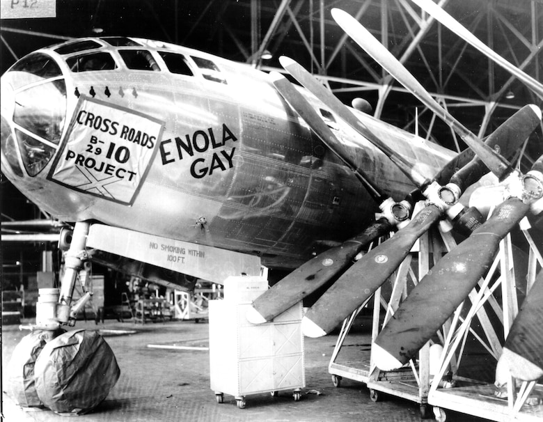 In February 1946, Oklahoma City Air Depot employees began modifying B-29s for atomic testing near the Bikini Atoll, and the historic Enola Gay made its first visit to Tinker for an overhaul.  (Photo courtesy of the Tinker History Office)
