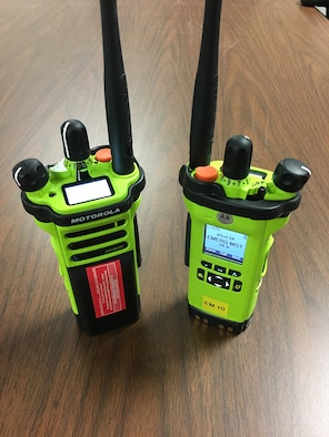 The 55th Civil Engineer Squadron's Emergency Management Flight and Offutt Fire Department recently received 61 new portable radios. This upgrade allow them to not only communicate with base agencies, but also off-base emergency responders (courtesy photo).
