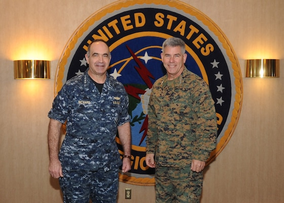 "Marine Corps Lt. Gen.  Joseph L. Osterman, right, U.S. Special Operations Command deputy commander, meets with Navy Vice Adm. Charles ""Chas"" A. Richard, U.S. Strategic Command (USSTRATCOM) deputy commander, during his visit to USSTRATCOM Headquarters, Offutt Air Force Base, Nebraska, Jan. 18, to discuss the transfer of the Unified Command Plan-assigned Countering Weapons of Mass Destruction mission, ensuring full coordination of resources and mission responsibilities with senior leaders."