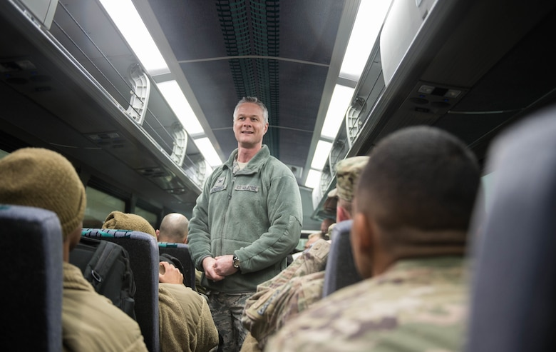 Col. Charles Henderson, 621st Contingency Response Wing commander, greets Airmen as they return from a three-month deployment to Iraq, in support of Operation Inherent Resolve, Jan. 18, 2017, at Travis Air Force Base, California. The CRW played a crucial role in reopening Qayyarah West Airfield and moving more than 1,423 short tons of cargo in and out of the region. (U.S. Air Force Photo by Staff Sgt. Robert Hicks)