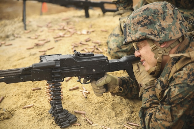 A Marine with Task Force Southwest fires a PK general-purpose machine gun during foreign weapons familiarization training at Camp Lejeune, N.C., Jan. 17, 2016. Marines with the unit are preparing for an upcoming deployment to Helmand Province, Afghanistan, where they will train, advise and assist the Afghan National Army 215th Corps and 505th Zone National Police to continue building well-equipped defense and security forces. (U.S. Marine Corps photo by Sgt. Lucas Hopkins)