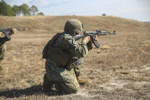 A Marine with Task Force Southwest fires an AK-47 during foreign weapons and familiarization training at Camp Lejeune, N.C., Jan. 17, 2016. About 30 Marines with the unit completed the training in the event they must use a foreign weapon system while deployed to Helmand Province, Afghanistan. The Marines are scheduled to deploy as part of Task Force Southwest to train, advise and assist the Afghan National Army 215th Corps and the 505th Zone National Police. (U.S. Marine Corps photo by Sgt. Lucas Hopkins)