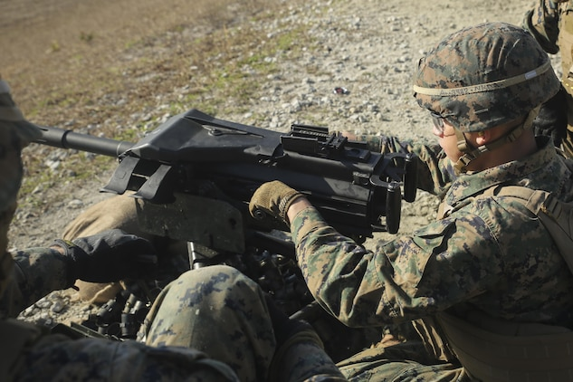 A Marine with Task Force Southwest fires an Mk 19 grenade launcher during a combined arms range at Camp Lejeune, N.C., Jan. 18, 2016. About 300 Marines with the unit are currently training for an upcoming deployment to Helmand Province, Afghanistan, where they will train, advise and assist the Afghan National Army 215th Corps and 505th Zone National Police to help thwart enemy presence in the region. (U.S. Marine Corps photo by Sgt. Lucas Hopkins)