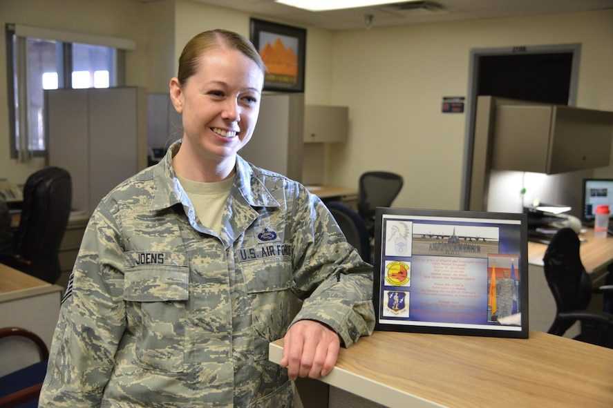 Staff Sgt. Nicole Joens, 58th Aircraft Maintenance Squadron, was recognized by the first sergeants with the Kirtland Warrior award.