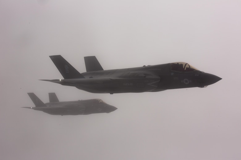 NORTH PACIFIC OCEAN—Marine Corps F-35Bs from Marine Fighter Attack Squadron (VMFA) 121, 3rd Marine Aircraft Wing, transit the Pacific Northwest from Marine Corps Air Station Yuma, Ariz., to Joint Base Elmendorf-Richardson, Alaska, Jan. 9, 2017, its final destination being MCAS Iwakuni, Japan, to join 1st Marine Aircraft Wing. VMFA-121, originally an F/A-18 squadron, was redesignated as the Marine Corps' first F-35 squadron in 2012. (U.S. Marine Corps photo by Sgt. Lillian Stephens)