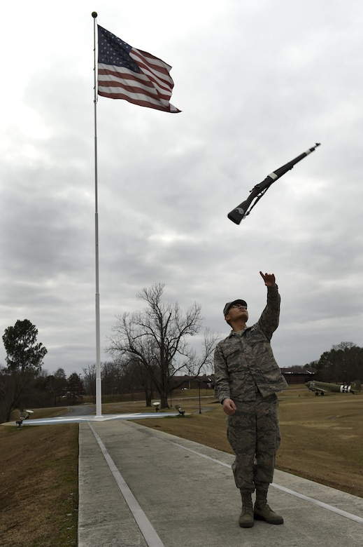 U.S. Air Force Airman 1st Class Philip Baroy, 19th Aircraft Maintenance Squadron integrated communication countermeasure navigation mission's systems apprentice, practices drill, Jan. 9, 2017 at Little Rock Air Force Base, Arkansas. Drill, a military tradition stemming from the 1800s, is the act of marching while handling a drill rifle. (U.S. Air Force photo by Airman 1st Class Codie Collins)