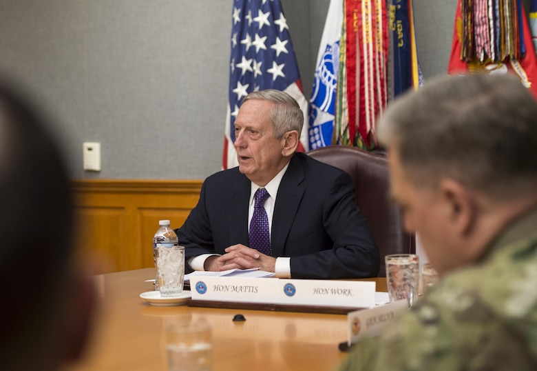 Secretary of Defense James Mattis meets with the Joint Chiefs of Staff at the Pentagon in Washington, D.C., Jan. 23, 2017. (DOD photo by Air Force Tech. Sgt. Brigitte N. Brantley)