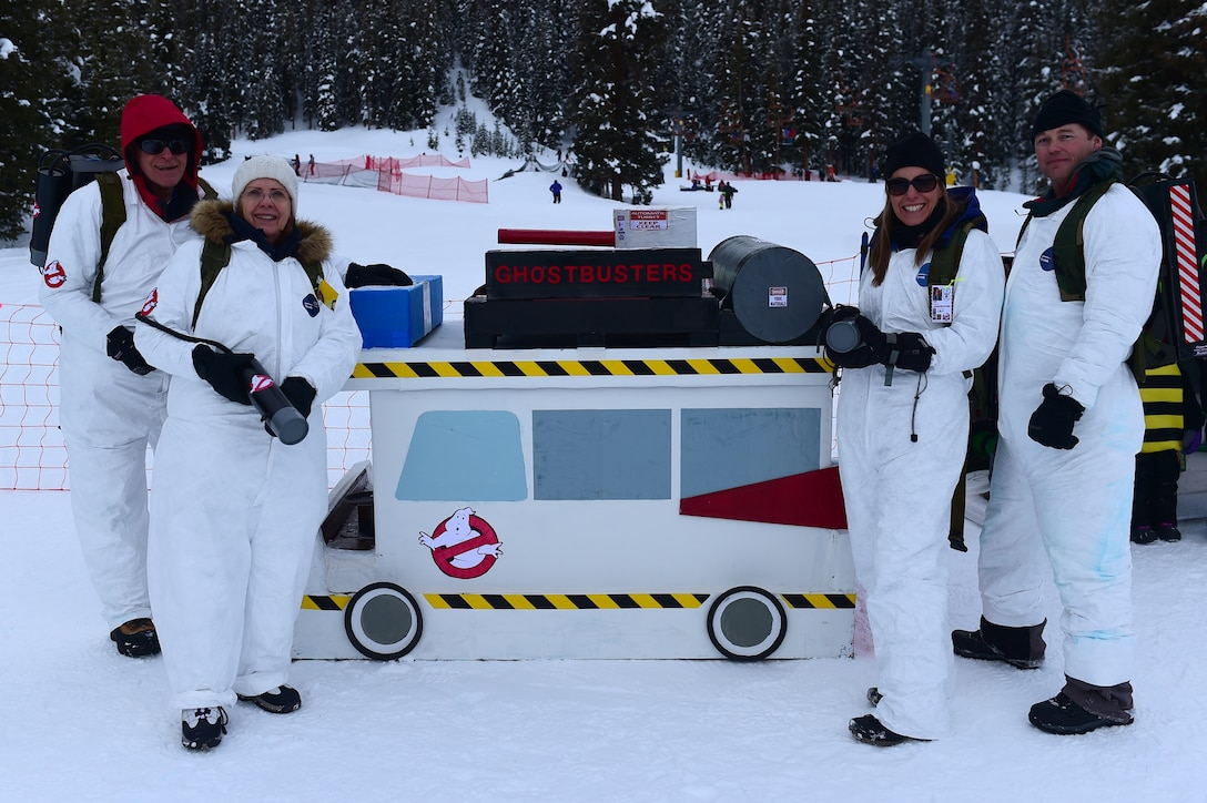 SnoFest cardboard derby participants stand with their Ghostbusters themed sled Jan. 21, 2017, at Copper Mountain, Colo. The cardboard derby competition included awards for fastest sled and most creative sled. (U.S. Air Force photo by Airman Jacob Deatherage/Released)