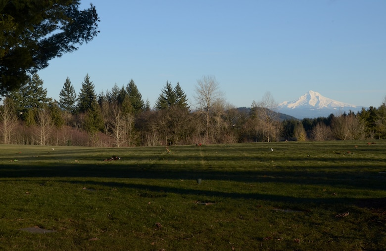 Overlooking Willamette National Cemetery, Portland, Ore., with Mt. Hood to the east, Jan. 6, 2017. The 307-acre cemetery located about 10 miles southeast of the city of Portland, Ore., straddles the county line between Multnomah and Clackamas Counties and is administered by the United States Department of Veterans Affairs. (U.S. Air National Guard photo by Tech. Sgt. John Hughel, 142nd Fighter Wing Public Affairs)
