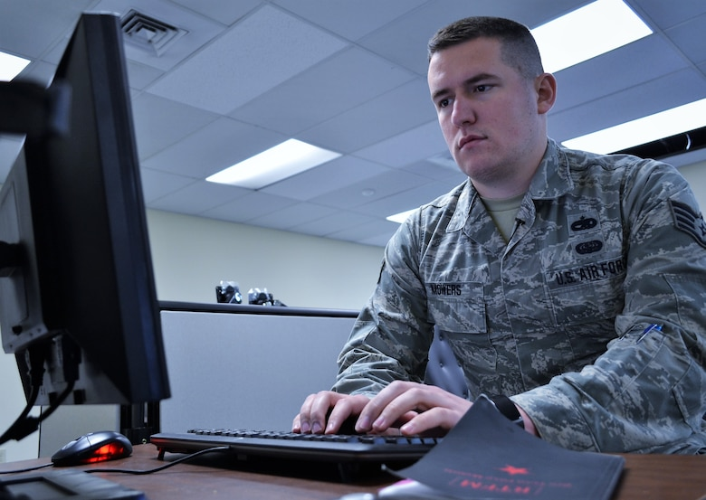 Staff Sgt. Brandyn Mowers, of the 112th Cyberspace Operations Squadron, works on a cyber-attack simulation at Horsham Air Guard Station, Pa., Jan. 9, 2017. The 112th COS was created last year to primarily defend Air Force units and – when tasked by the governor – the State's critical infrastructure facilities. (U. S. Air National Guard photo by Tech. Sgt. Andria Allmond)