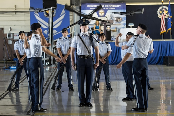 Members of the John Jay High School Drill Team perform during Air Education and Training Command's 75th Anniversary Extravaganza Jan. 23, 2017, at Joint Base San Antonio-Randolph, Texas. The event celebrated AETC's history of transforming civilians into Airmen and their continued development to the future success of the Air Force.