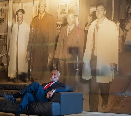 Retired Maj. Gen. Joseph McNeil at the International Civil Rights Center and Museum in Greensboro, North Carolina. The 1960s-era Woolworth's lunch counter where McNeil and three of his college classmates staged a historic sit-in is the centerpiece of the museum. (Tech. Sgt. Stephen Schester)