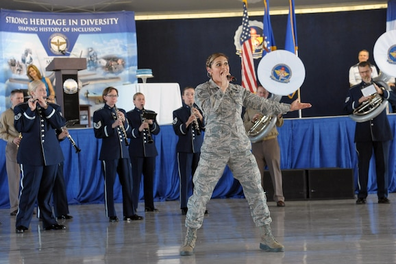 The United States Air Force Band of the West performs during Air Education Training Command's 75th Anniversary Extravaganza, Jan. 23, 2017 at Joint Base San Antonio-Randolph, Texas.  The event was held to mark the command's 75-year history of training Airmen to fly, fight and win our nation's wars.  (U.S. Air Force photo by Joel Martinez/Released)