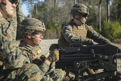 A Marine with Task Force Southwest fires an Mk 19 grenade launcher during a combined arms range at Camp Lejeune, N.C., Jan. 18, 2016. About 25 Marines trained to familiarize themselves on the weapon system in preparation for an upcoming deployment to Helmand Province, Afghanistan. The unit will work in a training and advisory capacity with the Afghan National Army 215th Corps and 505th Zone National Police to reaffirm our commitment to the stability and security in the region. (U.S. Marine Corps photo by Sgt. Lucas Hopkins)