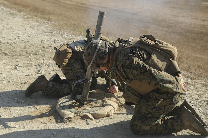 Marines with Task Force Southwest fire an M224 60mm mortar during a live-fire range at Camp Lejeune, N.C., Jan. 18, 2016. Approximately 300 Marines with the unit are familiarizing themselves with weapon systems in preparation for an upcoming deployment to Helmand Province, Afghanistan, where they will train, advise and assist Afghan forces to promote stability and security in the region. (U.S. Marine Corps photo by Sgt. Lucas Hopkins)