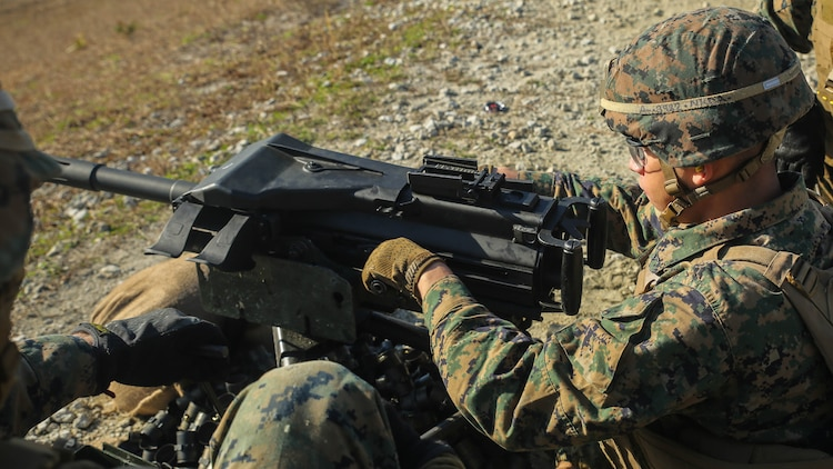A Marine with Task Force Southwest fires an Mk 19 grenade launcher during a combined arms range at Marine Corps Base Camp Lejeune, North Carolina, Jan. 18, 2016. About 300 Marines with the unit are currently training for an upcoming deployment to Helmand Province, Afghanistan, where they will train, advise and assist the Afghan National Army 215th Corps and 505th Zone National Police to help thwart enemy presence in the region.