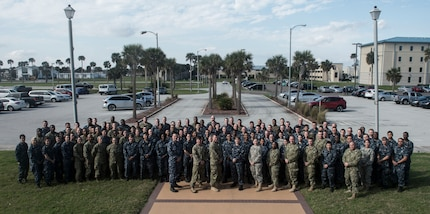 170121-N-WZ792-007 (January 21, 2017) NAVAL STATION MAYPORT, Fla. - Medical personnel and Continuing Promise 2017 leadership take a group photo following pre-deployment training at Naval Station Mayport, Fla. Continuing Promise 2017 is a U.S. Southern Command-sponsored and U.S. Naval Forces Southern Command/U.S. 4th Fleet-conducted deployment to conduct civil-military operations including humanitarian assistance, training engagements, medical, dental, and veterinary support and disaster response to partner nations and show U.S. support and commitment to Central and South America. (U.S. Navy Combat Camera photo by Mass Communication Specialist 2nd Class Ridge Leoni)