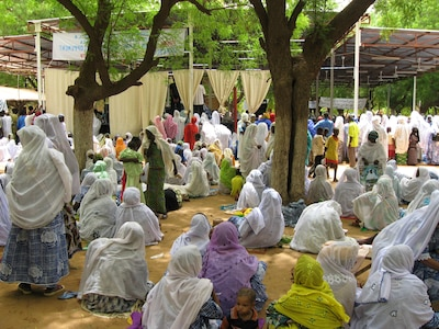 A meeting of a Muslim women's organization in Niger, at a center of the Tidjaniyya Sufi order.  Sufism remains an important part of the religious landscape in the Sahel, even if it is increasingly challenged by other forms of religious expression.