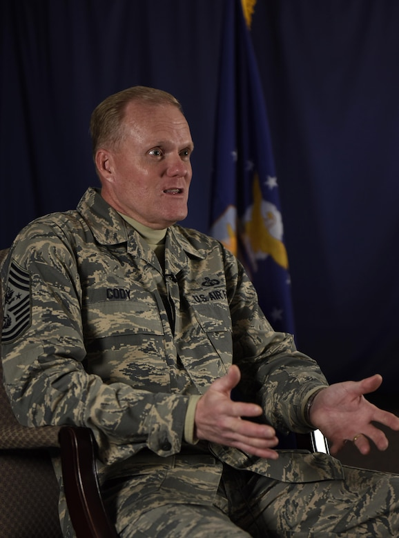 Chief Master Sgt. of the Air Force James Cody discusses Air Mobility Command's contributions to the Air Force mission and the need to modernize the fleet during his visit to Scott Air Force Base, Ill, Jan. 18, 2017. The purpose of his visit was to address new chief master sergeants and chief master sergeant-selects during the annual AMC Chief's Leadership Course. (U.S. Air Force photo by Staff Sgt. Stephenie Wade)