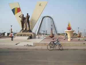 A moment under construction in the capital city of Ndjamena, to commemorate fifty years of independence in The Republic of Chad.