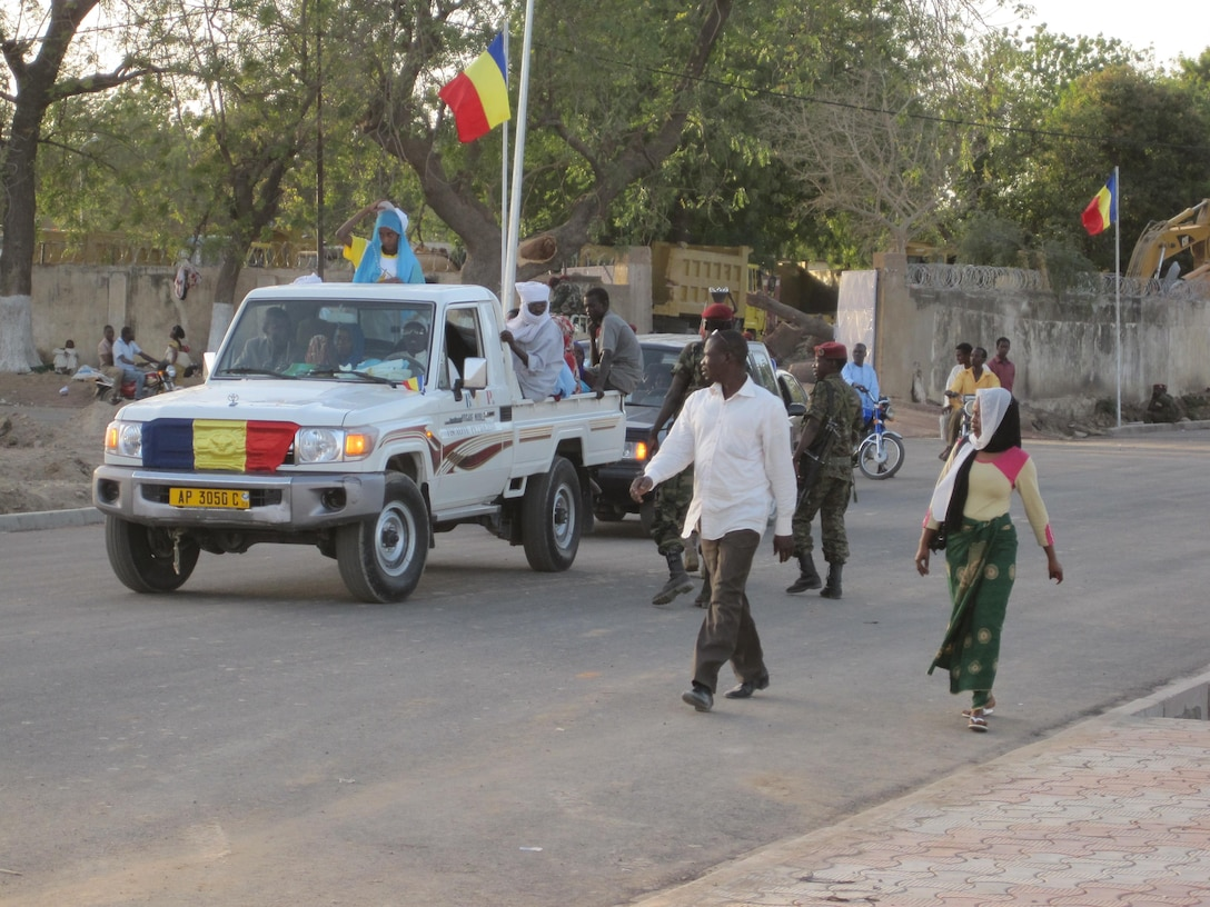An Independence Day parade on the streets of Ndjamena, Chad.