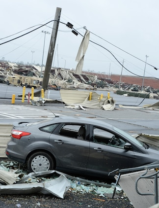A building and several other structures on Marine Corps Logistics Base Albany lay in ruins following a tornado, Jan. 23, 2017. A line of strong thunderstorms produced a tornado that passed through the Albany, Georgia community and Marine Corps Logistics Base Albany carving a path of destruction leaving the landscape strewn with broken trees, downed power lines and damaged structures, Jan. 22, 2017.