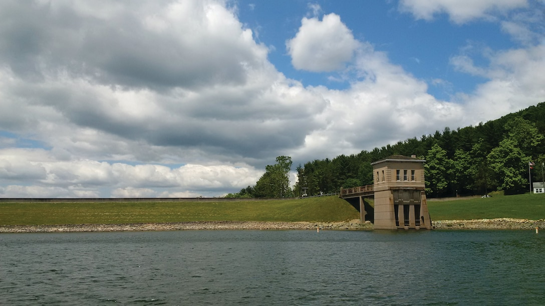 The view of the intake structure while gathering water samples at Leesville Lake in Bowerston, Ohio.