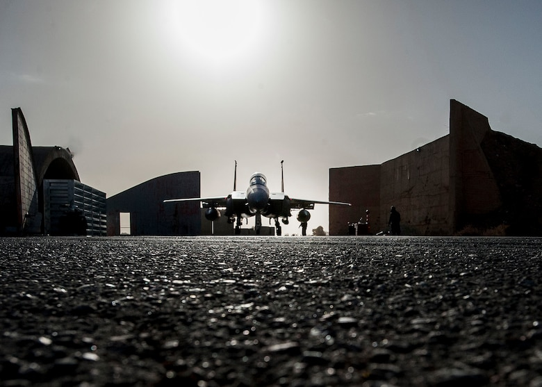 Crew chiefs prepare to launch a F-15E Strike Eagle, Jan. 9, 2017, in Southwest Asia. The jet is assigned to the Aircraft Maintenance Unit deployed from Mountain Home Air Force Base, Idaho. (U.S. Air Force photo by Staff Sgt. Eboni Reams)