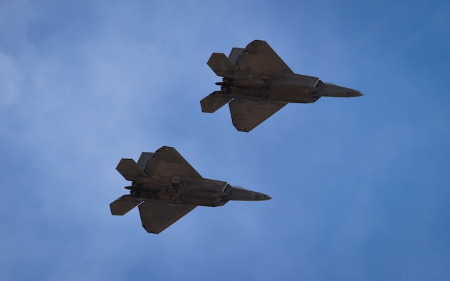 U.S. Air Force F-22 Raptors assigned to the 1st Fighter Wing fly into Nellis Air Force Base, Nev., Feb. 18, 2017. The fifth generation aircraft flew in from Langley Air Force Base, Va., to participate in the three-week Red Flag 17-1. (U.S. Air Force photo by Staff Sgt. Natasha Stannard)