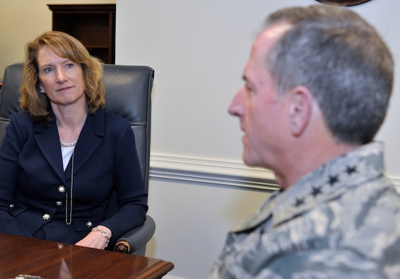 Acting Secretary of the Air Force Lisa Disbrow meets with Air Force Chief of Staff Gen. David L. Goldfein at the Pentagon, Jan. 23, 2017. Disbrow will serve as the acting secretary until the president nominates and the Senate confirms a full time successor. (U.S. Air Force photo/Tech. Sgt. Robert Barnett)