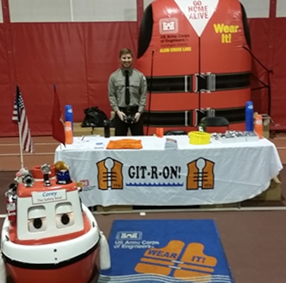 Park Rangers from Alum Creek Lake and Delaware Lake participated in the Bishop Backer Community Day.  Fans visited the booth to talk about boating and water safety and to discuss general questions about recreation around the lakes and the Corps mission.  Corey the Safety Boat made his rounds reminding kids to learn to swim and wear a lifejacket.