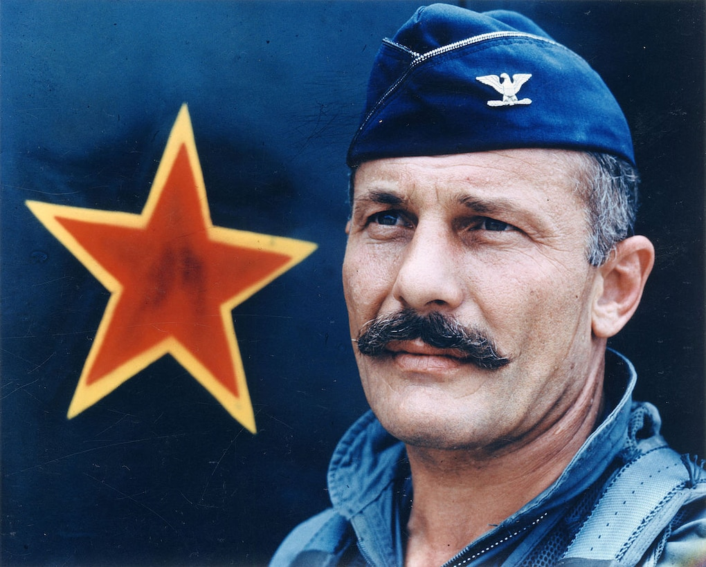 """Historic photo of then-Col, Robin Olds with his famous """"bulletproof mustache."""" (U.S. Air Force photo.)"""