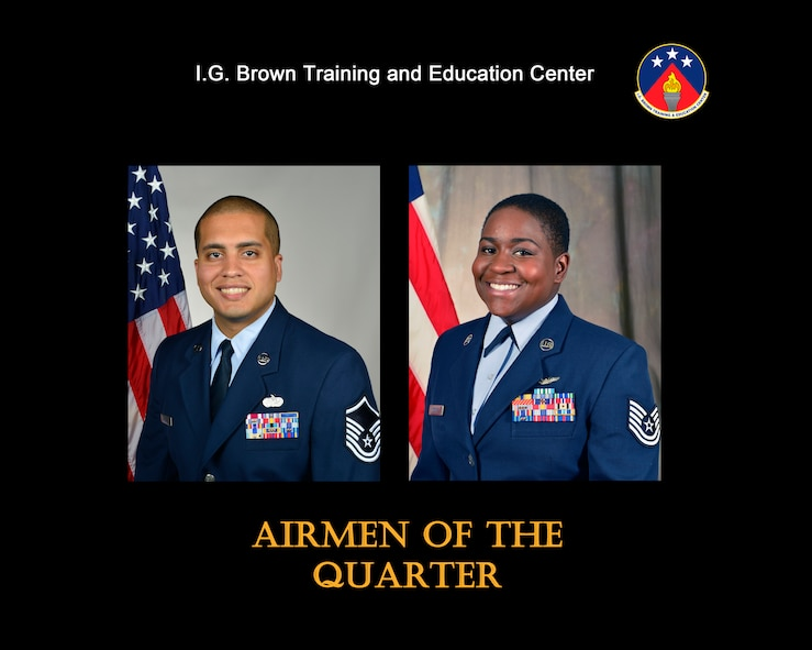 Master Sgt. Jose Santiago, Senior NCO of the quarter, Tech. Sgt. Chalanda Roberts, NCO of the quarter, were recognized for their outstanding service from October to December 2016 at the I.G. Brown Training and Education Center in Louisville, Tenn. (U.S. Air National Guard file artwork)