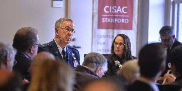 U.S. Strategic Command commander Gen. John Hyten, center, spoke Jan. 24 at Stanford University Center for International Security and Cooperation.