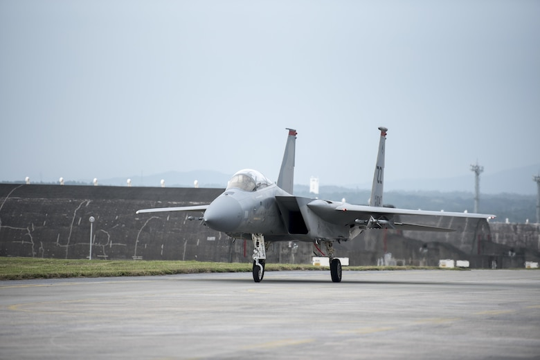 A U.S. Air Force F-15 Eagle taxis off of the flightline for a pit stop Jan 10, 2017, at Kadena Air Base, Japan. The 67th Aircraft Maintenance Unit works night and day to ensure the F-15 Eagles on Kadena Air Base are combat ready. (U.S. Air Force photo by Senior Airman Omari Bernard/Released)