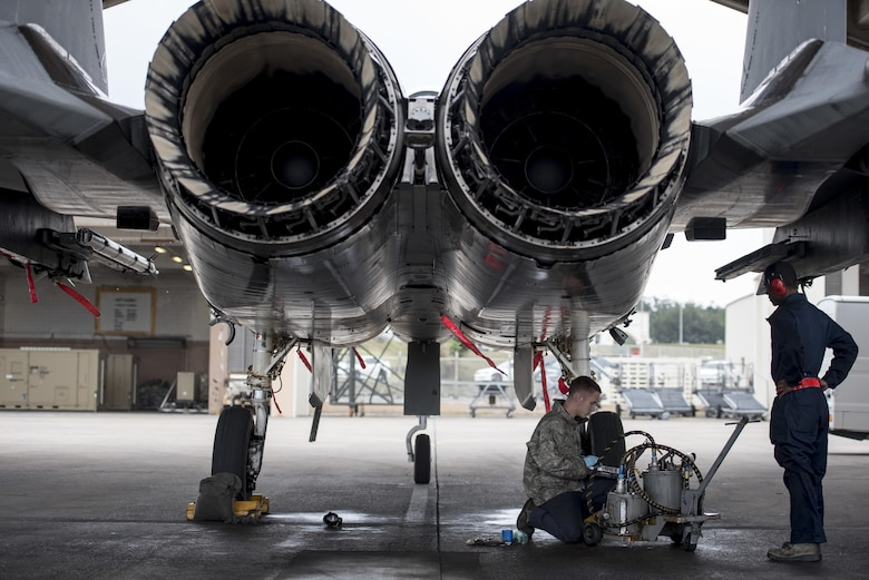 U.S. Air Force Senior Airman Dyllan Jones and Airman 1st Class Wesley Johnson, 67th Aircraft Maintenance Unit F-15 Eagle crew chiefs, maintain an F-15 Eagle Jan 10, 2017, at Kadena Air Base, Japan. Kadena Air Base is home to the U.S. Air Force's largest combat wing. (U.S. Air Force photo by Senior Airman Omari Bernard/Released)