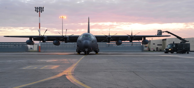 An MC-130J Commando II, from the 67th Special Operations Squadron, is prepared for de-icing during pre-flight procedures Jan. 17, 2017, on RAF Mildenhall, England. Freezing temperatures can cause ice to build up on the aircraft. De-icing procedures ensure that the aircraft's flight controls are free-moving during take-off and inflight. (U.S. Air Force photo by Senior Airman Justine Rho)