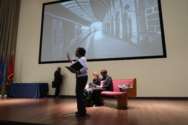 """Ramona French, a supervisory supply specialist from DLA Distribution Future Operations wrote and performed a skit entitled """"Dream Your Impossible Dream,"""" during the Jan. 19, Martin Luther King, Jr. Event at DLA Distribution Headquarters in New Cumberland, Pa."""