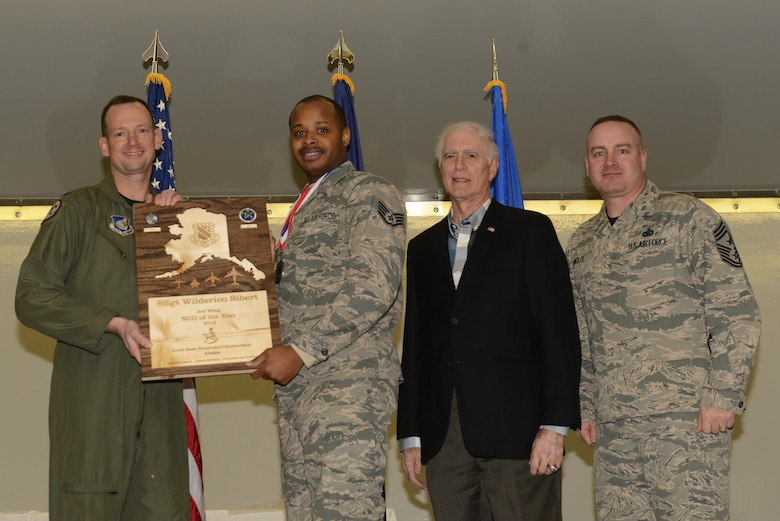 Air Force personnel assigned to the 3rd Wing are recognized during the Annual Awards Banquet hosted in Hangar 1 at Joint Base Elmendorf-Richardson, Alaska, Feb. 20, 2017.