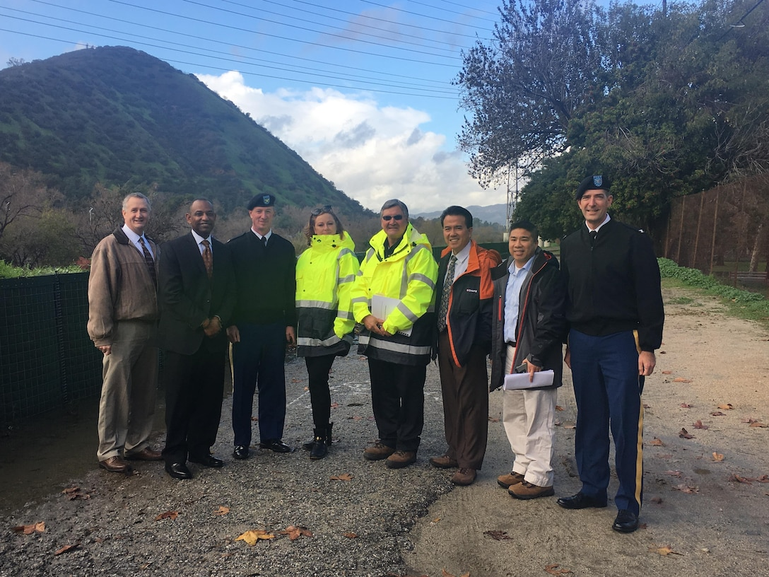 SPD Commander Col. Pete Helmlinger (far right) and James Dalton (second from left), Director of Civil Works, Headquarters, U.S. Army Corps of Engineers, join Los Angeles District (SPL) Commander Col. Kirk Gibbs (third from left) and other staff at a tour of Los Angeles River sites The Bowtie and Taylor Yard during January 19. During the visit, they learned more about the LA River Ecosystem Restoration Project, which will restore approximately 11 miles of the river from Griffith Park to Downtown Los Angeles while maintaining existing levels of flood risk management. The Los Angeles River is the 51 -backbone of an 870-mile watershed.