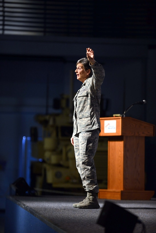 """Gen. Ellen Pawlikowski, Air Force Materiel Command commander, speaks to members of Team Robins during her commanders call at the Museum of Aviation Century of Flight Hangar Jan. 18, 2017. During the commanders call, the general discussed the AFMC Strategic Plan, released in 2016, which established the following four goals: Increase AFMC's agility in order to best support the Air Force enterprise; Bolster trust and confidence of those AFMC serves; Drive cost-effectiveness into the capabilities the command provides; and, Recruit, develop and retain a diverse, high-performing and resilient team. In closing the general told the audience, """"Thanks for what you do. It makes me proud to be a part of Air Force Materiel Command."""" (U.S. Air Force photo by Tommie Horton)"""
