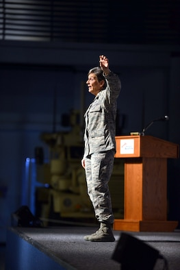 "Gen. Ellen Pawlikowski, Air Force Materiel Command commander, speaks to members of Team Robins during her commanders call at the Museum of Aviation Century of Flight Hangar Jan. 18, 2017. During the commanders call, the general discussed the AFMC Strategic Plan, released in 2016, which established the following four goals: Increase AFMC's agility in order to best support the Air Force enterprise; Bolster trust and confidence of those AFMC serves; Drive cost-effectiveness into the capabilities the command provides; and, Recruit, develop and retain a diverse, high-performing and resilient team. In closing the general told the audience, ""Thanks for what you do. It makes me proud to be a part of Air Force Materiel Command."" (U.S. Air Force photo by Tommie Horton)"