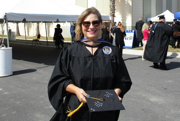 Tracy Moreno, a Defense Contract Management Agency Phoenix management analyst and training coordinator, took advantage of the agency's tuition assistance program while working toward her master's degree. She graduated in October 2016. (Photo courtesy of Tracy Moreno)