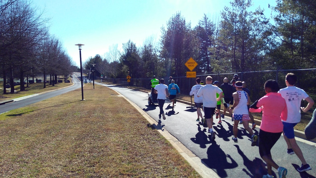 A clear sky and warm temperature greets participants as they depart the starting point, Jan. 25 at the McNamara Headquarters Complex, Fort Belvoir, Virginia.