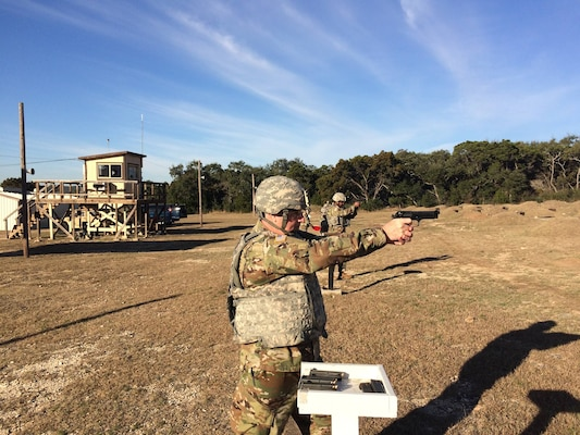 U.S. Army South Soldiers from Joint Base San Antonio-Fort Sam Houston qualified with their assigned M9 pistol at the JBSA-Camp Bullis range Jan. 24.