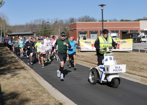 The 3.1-mile course began an ended at Gate 2, with the way kept  clear by the DLA Police Department.
